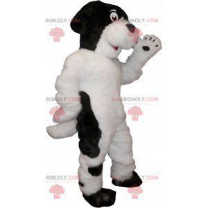 Haariges und süßes weißes und schwarzes Hundemaskottchen -