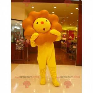 Maskottchen gelber und brauner Löwe mit einer großen Mähne -