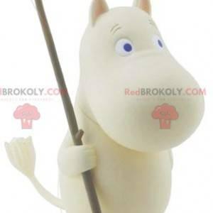 Weißes Nilpferd-Maskottchen mit blauen Augen - Redbrokoly.com