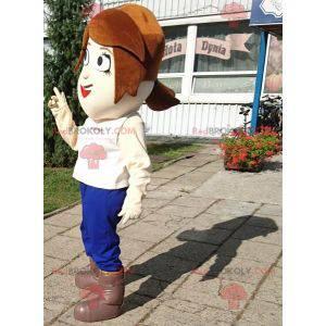 Maskot žena s krátkými vlasy s velkýma očima - Redbrokoly.com