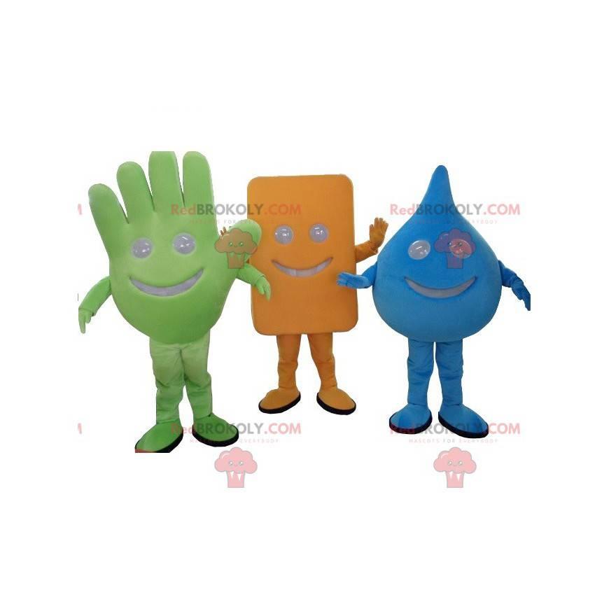 Lot von 3 Maskottchen in verschiedenen Formen - Redbrokoly.com