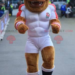 Muscular bulldog brown dog mascot in sportswear - Redbrokoly.com