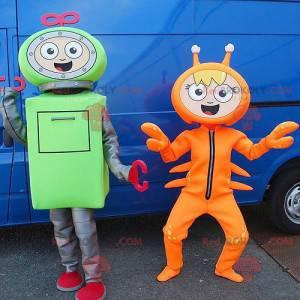 2 mascottes een groene robot en een oranje rivierkreeft -