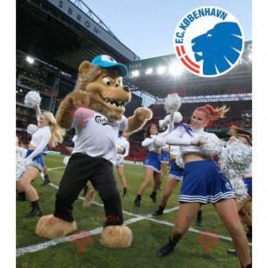 Legrační a chlupatý hnědý lev maskot - Redbrokoly.com