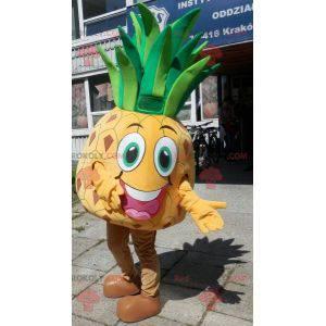 Riesiges gelbes und grünes Ananasmaskottchen. Ananaskostüm -
