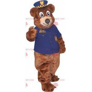 Brown teddy bear mascot in police uniform - Redbrokoly.com
