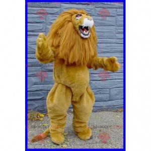 Hnědý a bílý lev maskot s velkou hřívou - Redbrokoly.com