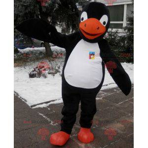 Tučňák maskot černá bílá a oranžová. Kostým tučňáka -