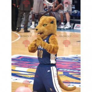 Brown tiger mascot in sportswear - Redbrokoly.com