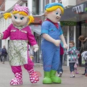 2 maskoter en blond jente og en blond gutt - Redbrokoly.com