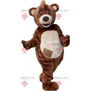 Hnědý a bílý medvídek maskot s hřebenem - Redbrokoly.com