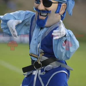 Mustached piratmaskot i blåt tøj - Redbrokoly.com