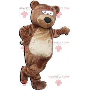 Měkký a roztomilý hnědý a béžový medvěd maskot - Redbrokoly.com