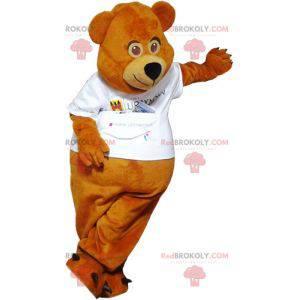 Maskot hnědý medvídek oblečený v bílém - Redbrokoly.com