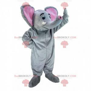 Obří šedý a růžový slon maskot - Redbrokoly.com