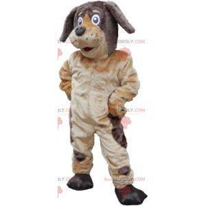 Myk og hårete brun og beige hundemaskot - Redbrokoly.com
