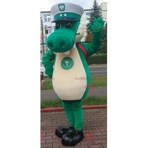 Grønn krokodille maskot med kapteinslue - Redbrokoly.com