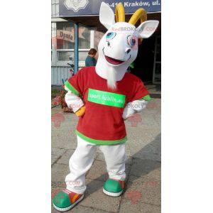 Mascot white and yellow goat. Goat mascot - Redbrokoly.com