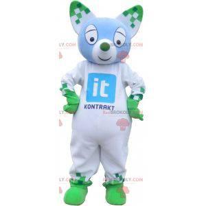 Modrá a zelená kočka maskot. Zelené zvířecí maskot -