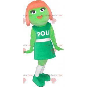 Green girl mascot with red hair - Redbrokoly.com