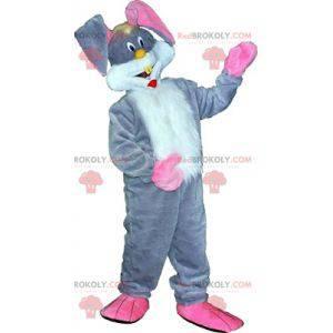 Weißes und rosa graues Kaninchenmaskottchen. Häschenkostüm -