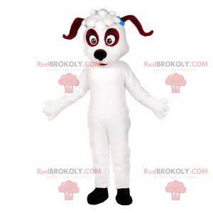 Weißes und braunes Hundemaskottchen. Hundekostüm -