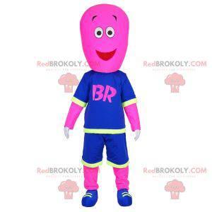 Růžový sněhulák maskot oblečený v basketbalové oblečení -