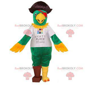 Parrot mascot dressed as a pirate. Green and yellow parrot -