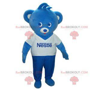 Blaues und weißes Teddybärmaskottchen. Nestle Bär -