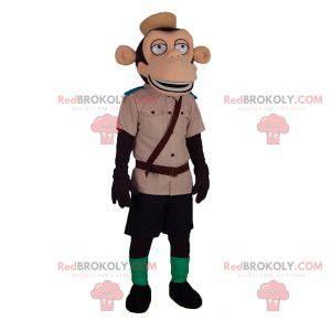 Affenmaskottchen im Zoo Keeper Explorer-Outfit - Redbrokoly.com
