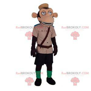Monkey mascot in zoo keeper explorer outfit - Redbrokoly.com