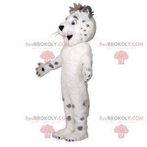 Weiches und haariges süßes weißes und graues Tigermaskottchen -