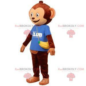 Brown monkey mascot with a bag in the form of a banana -