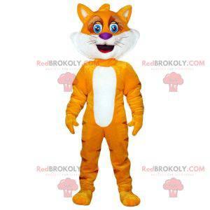 Orange und gelbes Katzenmaskottchen. Fuchs Maskottchen -