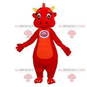 Cute and touching red and yellow dragon mascot - Redbrokoly.com