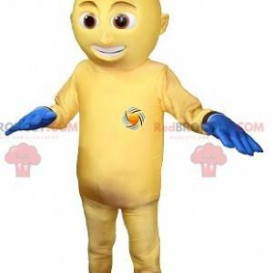 Yellow and blue snowman mascot - Redbrokoly.com