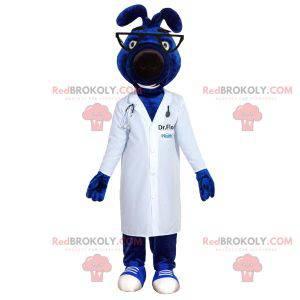 Modrý psí maskot s lékařským kabátem - Redbrokoly.com