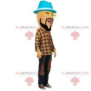 Bärtiges Mannmaskottchen mit Brille und Hut - Redbrokoly.com