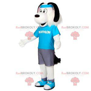 Bílý a černý psí maskot ve sportovním oblečení s čelenkou -