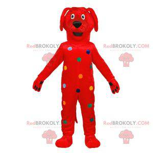 Červený pes maskot s barevnými puntíky - Redbrokoly.com