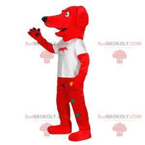 Czerwony pies maskotka w kolorowe kropki - Redbrokoly.com