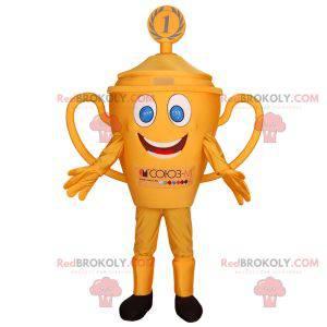 Maskot žlutá trofej s modrýma očima. Maskot pohár -