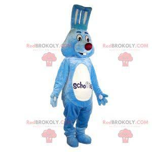 Nettes und freundliches blaues und weißes Kaninchenmaskottchen