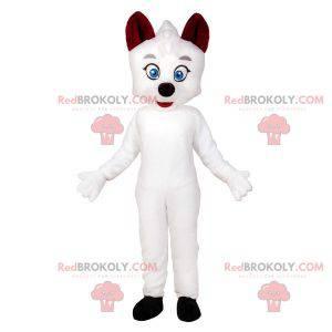 Biały kot maskotka z niebieskimi oczami. Biały pies maskotka -