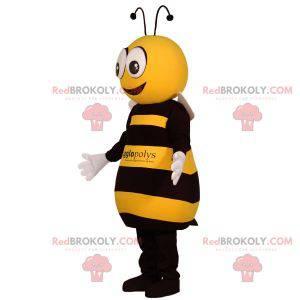 Riesenmaskottchen der gelben und schwarzen Biene.