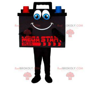 Colorful and smiling giant car battery mascot - Redbrokoly.com