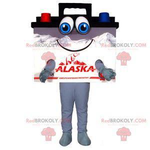 Obří černý modrý a červený maskot automobilové baterie -
