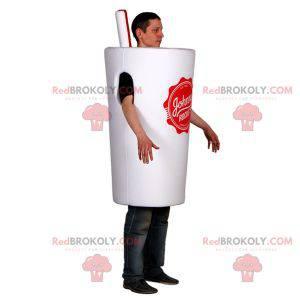 Maskottchen weiße Tasse mit einem Strohhalm. Kostüm trinken -