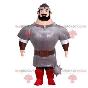 Velmi svalnatý rytíř maskot s brněním a helmou - Redbrokoly.com