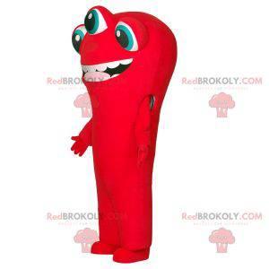 Rotes Alien-Maskottchen mit 3 Augen und großem Mund -